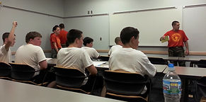 Recruits learning how to be Central Indiana Young Marines!