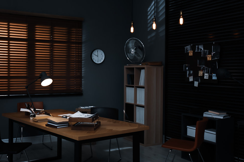 Detective office interior with evidence