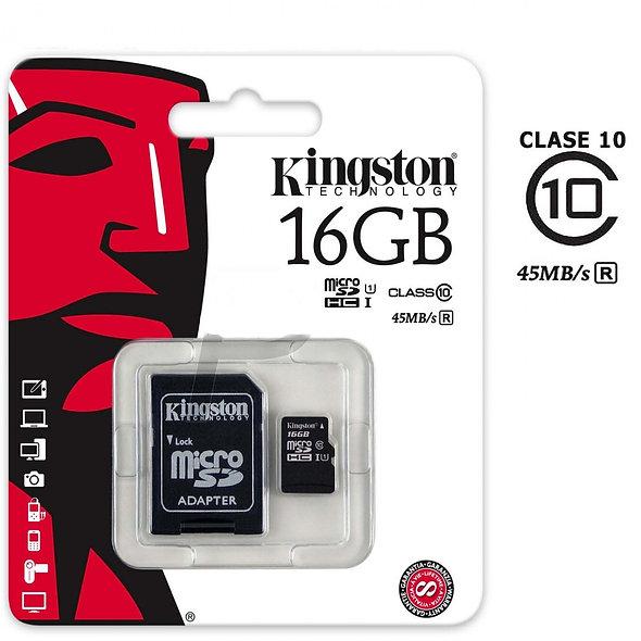 Kingston - Tarjeta de memoria flash ( adaptador microSDHC a SD Incluido ) - 16 G