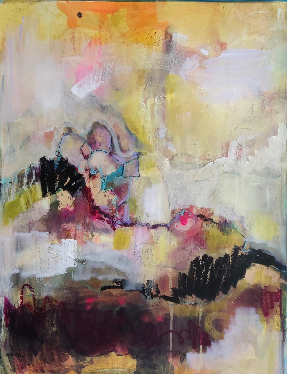 Abstract art. Oil on paper. Sweden Stockholm
