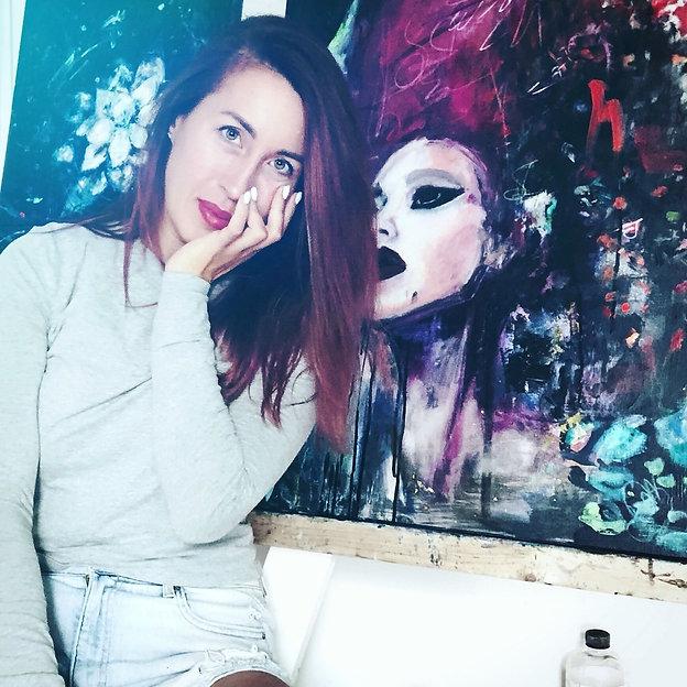 Marie Demiz in her studio wirking on her first portfolio.jpg