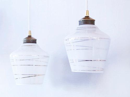 Gold Swirl on White  glass Pendants