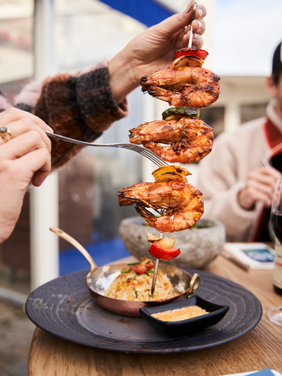 Restaurant Iséo La Rochelle, brochette de crevettes