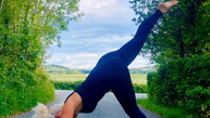 Triangle pose with leg lift in the road!