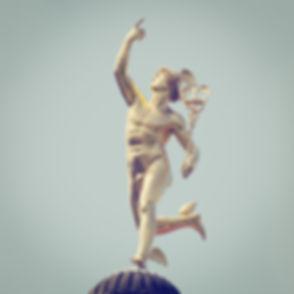 Roman God Mercury with retro style effec