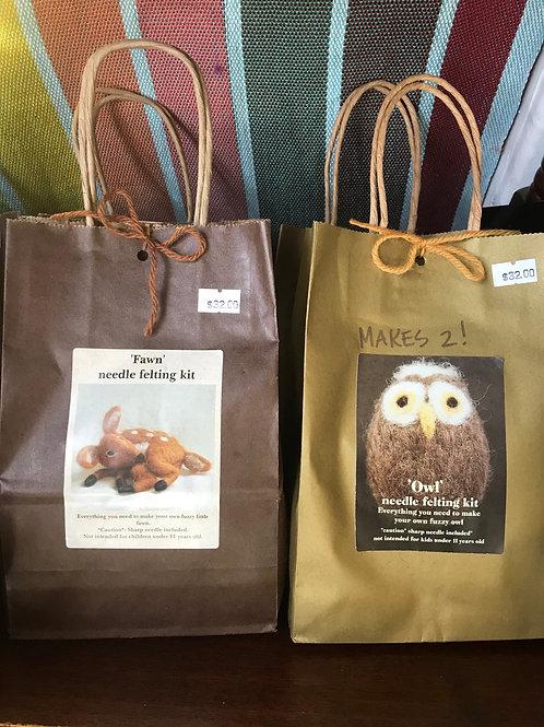 Needle felting kit- Fawn / Owls