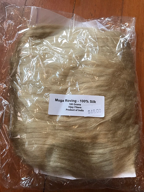 Muga Silk Roving - 100 grams