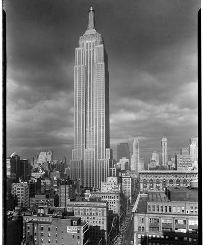 "Credit: Gottscho, Samuel H., photographer. ""The Empire State Building. From south,"" 1934. Prints and Photographs Division, Library of Congress. Reproduction Number LC-G612-T01-21095."