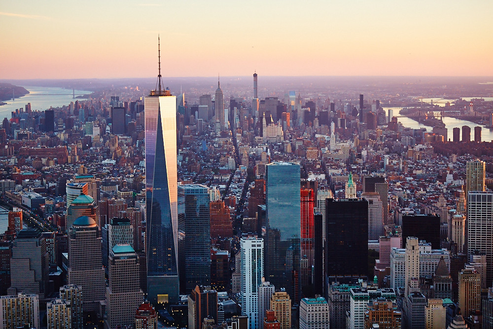 One World Trade Center towers above the Downtown skyline in the foreground while the iconic Empire State Building in Midtown South can be seen in the background. Photo: CoStar