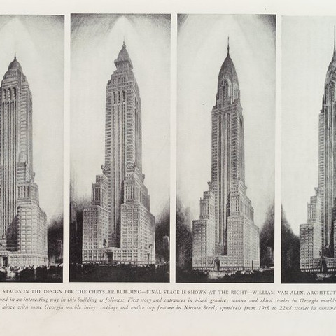 """Credit: Progressive architecture (magazine) v. 10 (July - Dec. 1929) — The Miriam and Ira D. Wallach Division of Art, Prints and Photographs: Art & Architecture Collection, The New York Public Library. """"Stages in the design for the Chrysler building"""" The New York Public Library Digital Collections. 1929-08. https://digitalcollections.nypl.org/items/b5b54270-a066-0130-466b-58d385a7b928"""