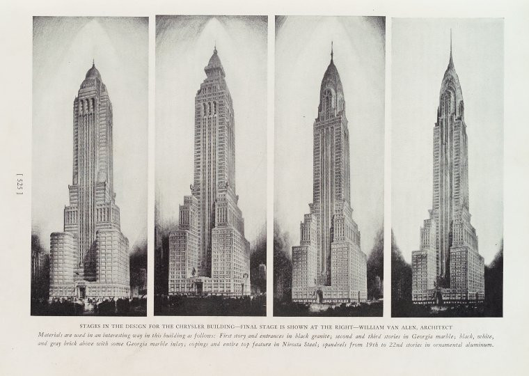 "Credit: Progressive architecture (magazine) v. 10 (July - Dec. 1929) — The Miriam and Ira D. Wallach Division of Art, Prints and Photographs: Art & Architecture Collection, The New York Public Library. ""Stages in the design for the Chrysler building"" The New York Public Library Digital Collections. 1929-08. https://digitalcollections.nypl.org/items/b5b54270-a066-0130-466b-58d385a7b928"
