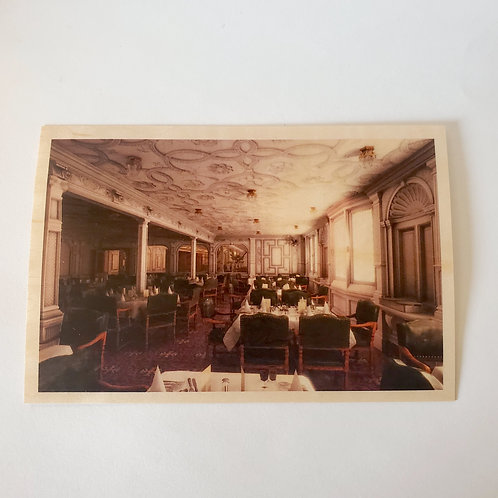 First Class Dining Saloon Wooden Postcard