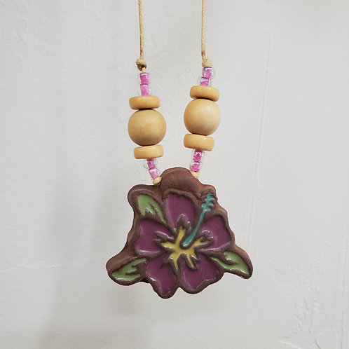 Purple Hibiscus Flower Tile Necklace