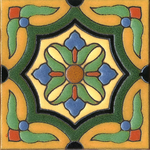 6x6 Bird Park Ornate Deco Satin Green Tile