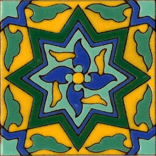 6x6 Pinwheel Deco Gloss Yellow Tile