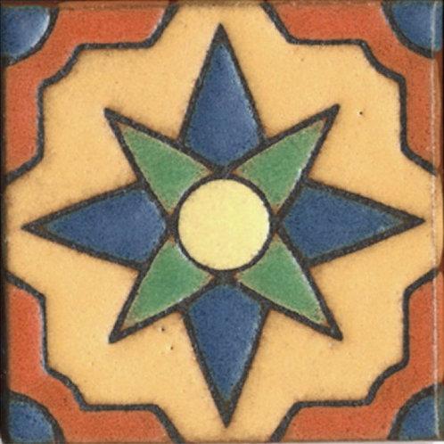 3x3 Star Dot Deco Satin Cream Tile