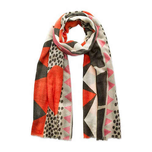 Red and Neutral Scandi Scarf