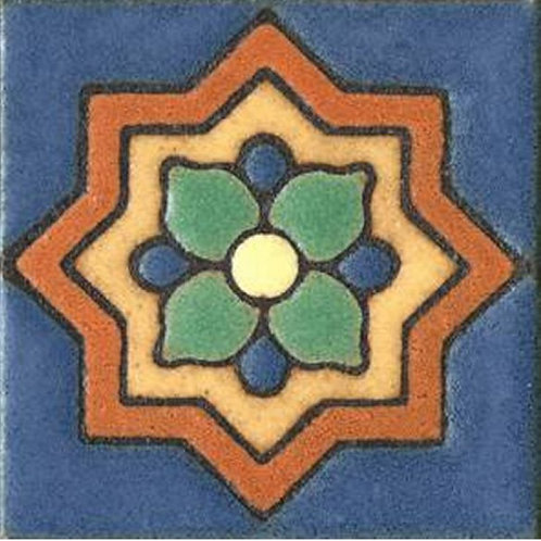 3x3 Clover Dot Deco Satin Blue Tile