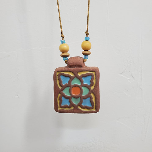Green & Yellow Lotus Tile Necklace