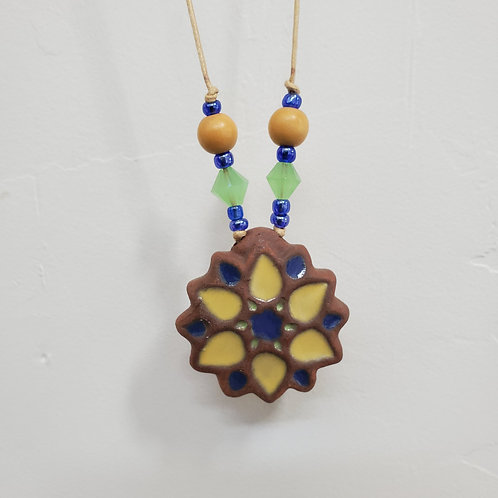 Yellow Moorish Flower Tile Necklace