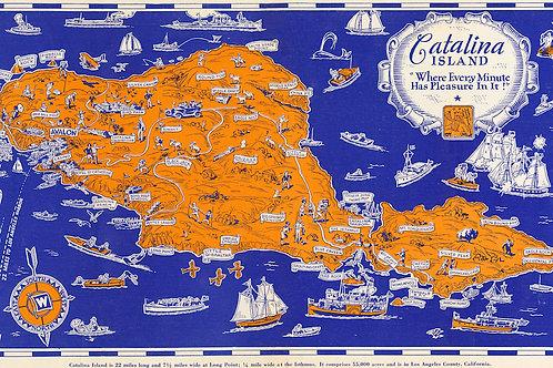 Vintage Orange Map of Catalina Print, 10x18