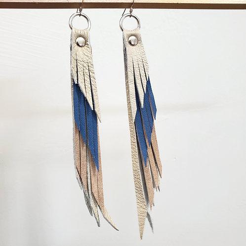 Tan & Navy Leather Fringe Earrings