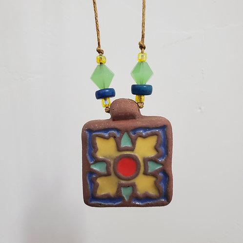 Yellow & Blue Clover Tile Necklace