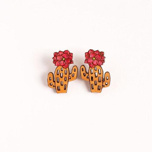 Wooden Cactus Earrings