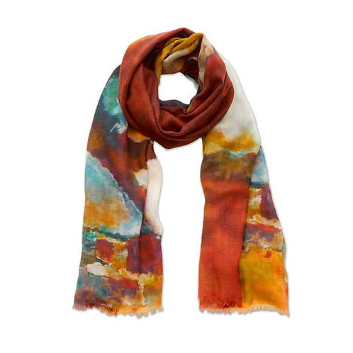 Blue and Brown Painterly Scarf