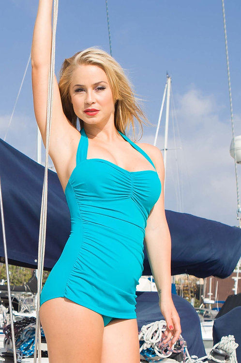 Classic Solid Sheath Swimsuit Teal