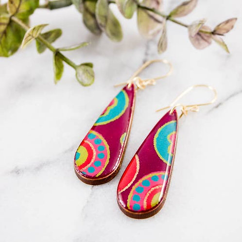 Modern Purple + Gold Teardrop Earrings