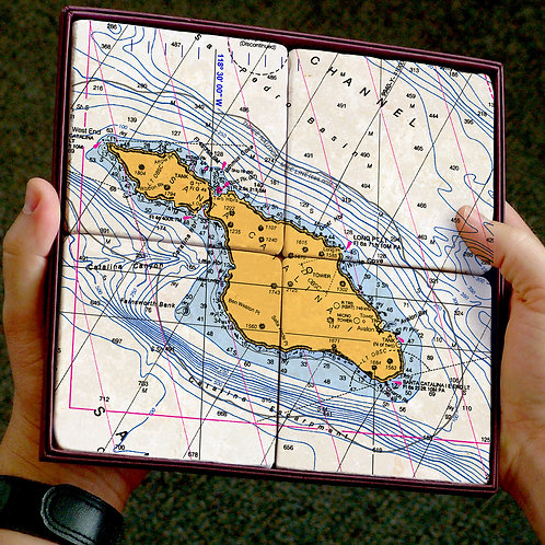 Catalina Map Marble Coaster Set