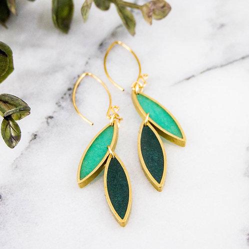 Spring Green Leaf Earrings