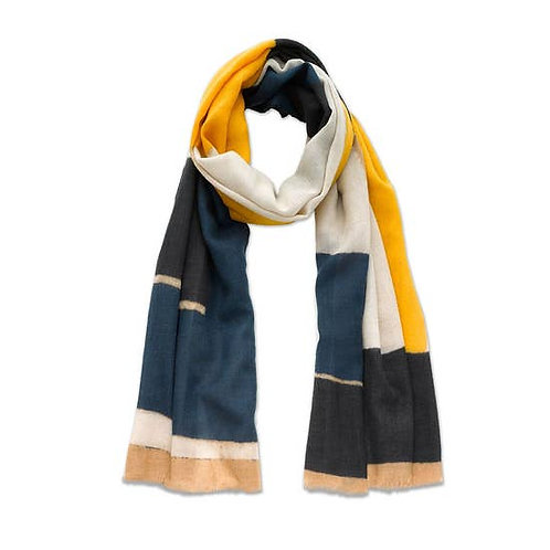 Yellow and Blue Abstract Scarf