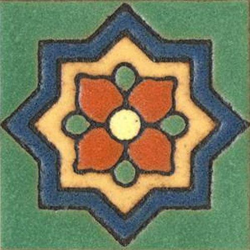 3x3 Clover Dot Deco Satin Green Tile
