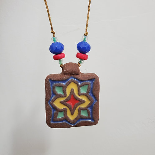 Yellow & Blue Star Tile Necklace
