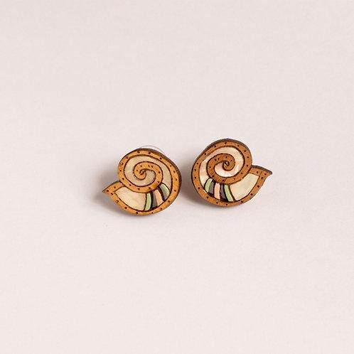 Wooden Nautilus Earrings