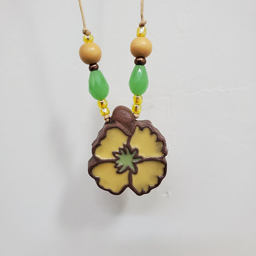 Yellow Wildflower Tile Necklace