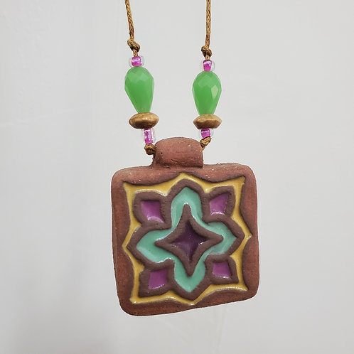 Green & Yellow Star Tile Necklace