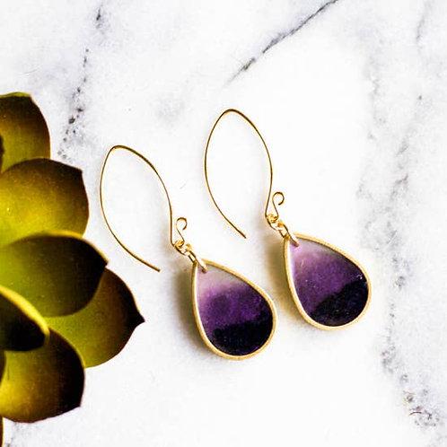Plum Brass Raindrop Earrings