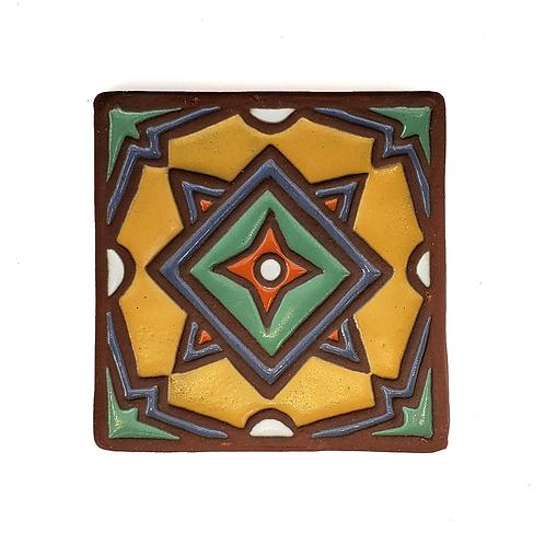 4x4 Topanga Modern Yellow Tile with Green