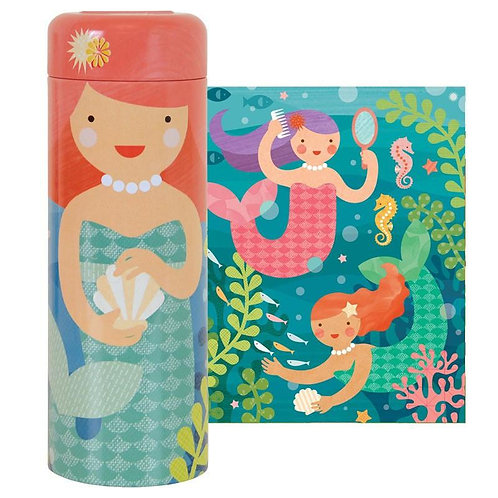64-Piece Mermaid Puzzle Tin & Coin Bank