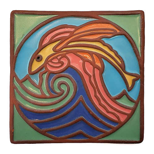6x6 Flying Fish Tile Green