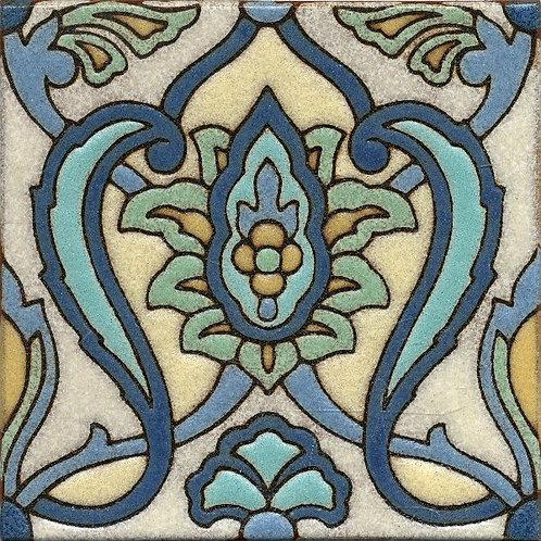 6x6 Tabriz Vine Deco Matte Pastel Tile