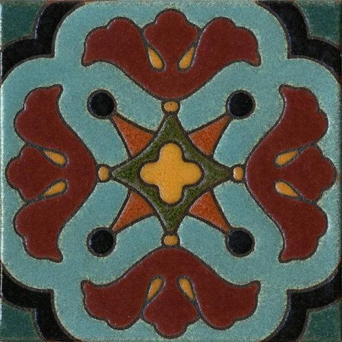6x6 Mariposa Deco Satin Turquoise Tile
