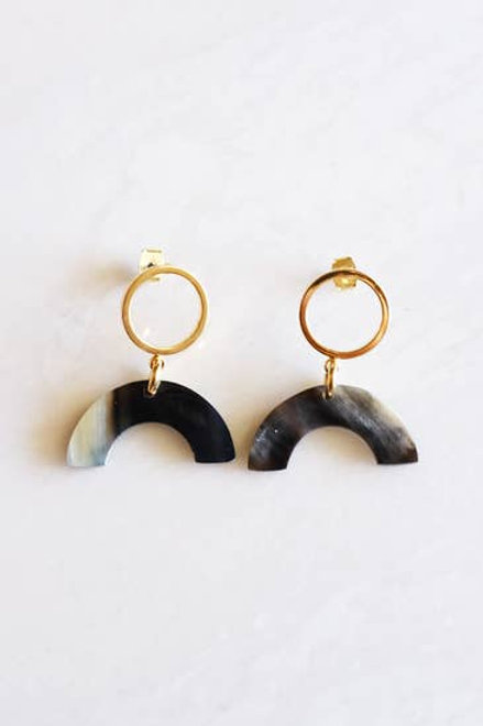 Buffalo Horn Geo Icon Post Earrings