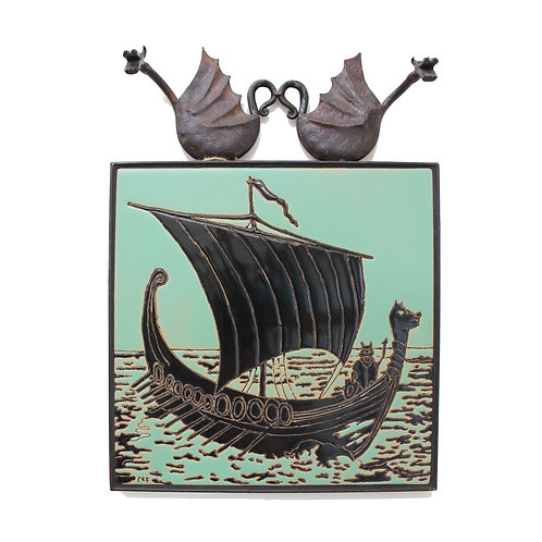 Viking Ship Tile with Wrought Iron Dragons