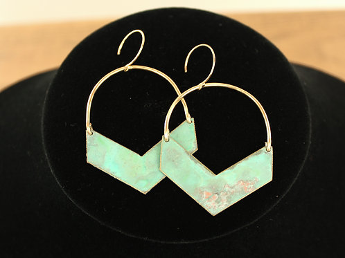 Single Chevron Patina Earrings