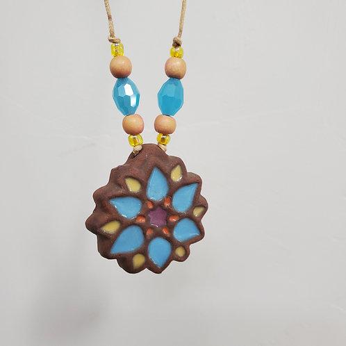 Blue Moorish Flower Tile Necklace