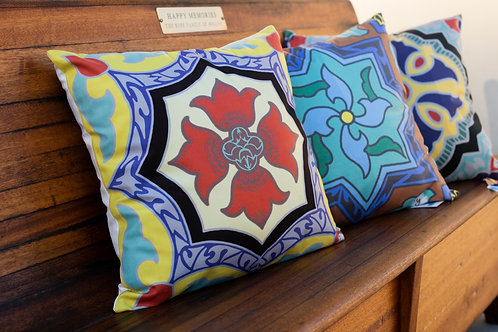 Tile Throw Pillow with Recycled Water Bottle Insert